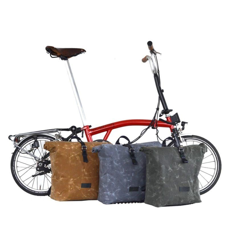 Rucksack THE URBAN TRAVELLER für Brompton in grau, tan und oliv
